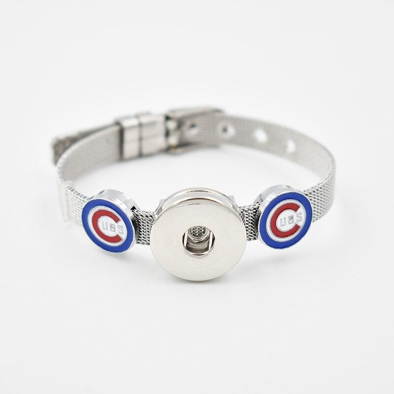 5 Sets Chicago Cubs 2018 Enamel Slide Charms Bracelet 8MM Net 18MM Snap Button Bracelet(Stainless Steel Bracelet)