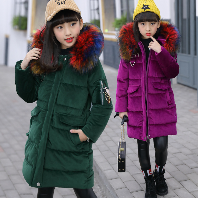 -18 degree Children's duck down jacket for Girl clothes Outerwear fur long model warm baby jackets girls Winter coat Cold parka girls coat children coats warm baby 100% thick duck down 30 degree jacket girl winter down jackets 30