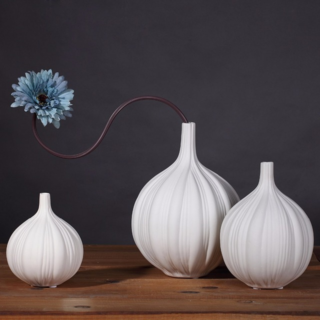 Contemporary Garlic Ceramic Vase Set Tabletop Flower Vase Home Decor