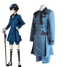 Butler negro Ciel phantomhive Cosplay trajes azul abrigo largo joven  maestro traje anime cos Halloween set Cosplay 05c9e5d5103a