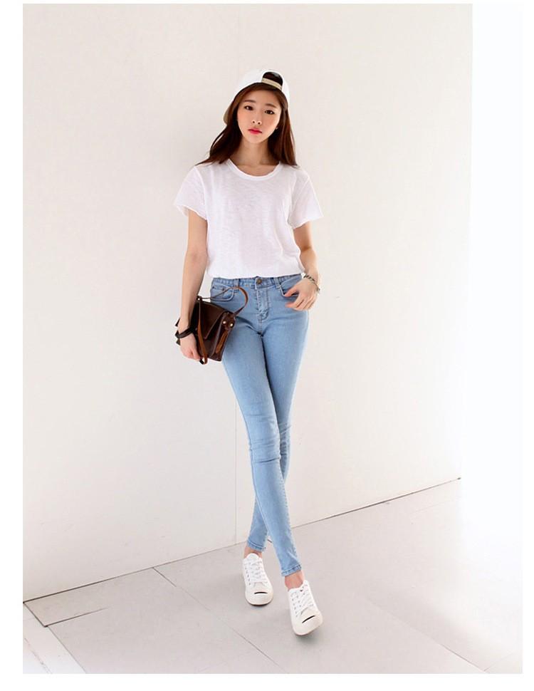 19 thin waist jeans nine Korean female grey legging feet pencil pants 9 black women jeans 10