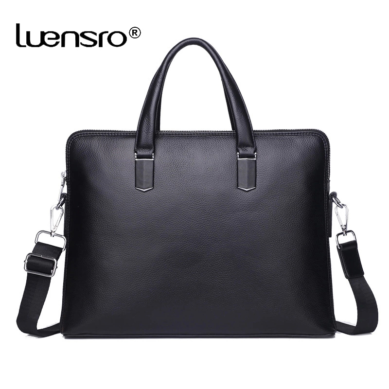 100% Genuine Cowhide Leather 14'' Laptop Briefcase Men Messenger Bag Male Crossbody Shoulder Bags Business Briefcase Layer Bag