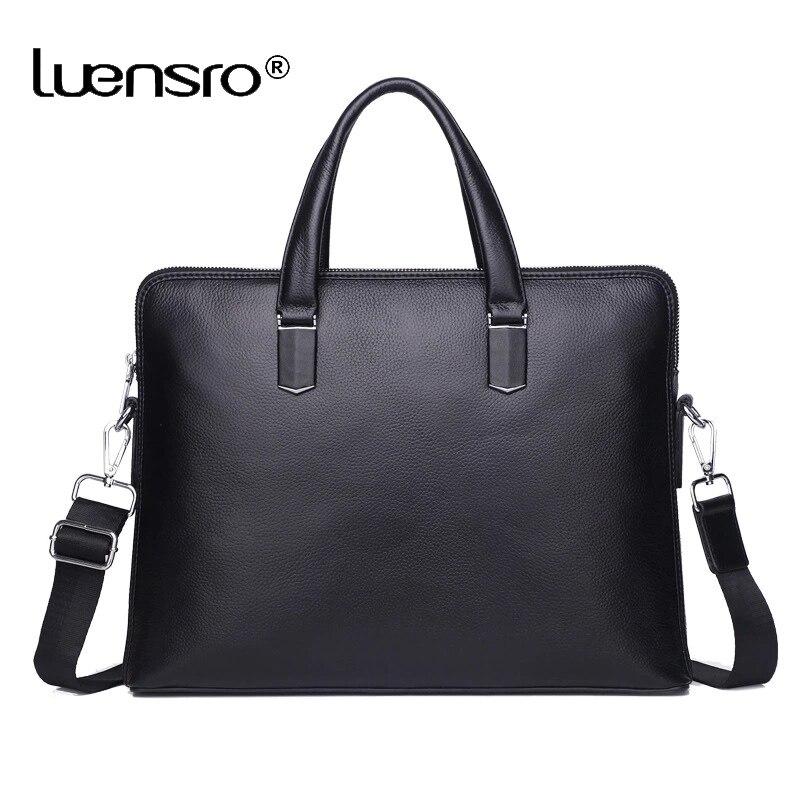 100% prawdziwa skóra bydlęca 14 ''teczki na laptopa mężczyźni Messenger torby męskie Crossbody torby na ramię walizka biznesowa warstwa skórzana torba w Teczki od Bagaże i torby na  Grupa 1