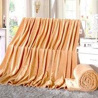 Camel Solid Color Throw Golden Mink Wool Blanket Super Soft Bedding Bed Portable Blanket For Sofa