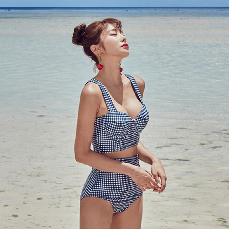 Women Sexy Bikini Set Vintage Plaid Back Tie Bow High Waist Split Push-Up Padded Steel Ring Beachwear Women's Swimming Suit