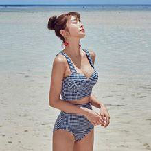 Bikini-Set Beachwear Swimming-Suit Vintage Padded Split Sexy High-Waist Push-Up Women