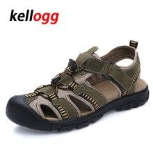 Más el Tamaño 38-47 Hombres Sandalias de Cuero Genuino Zapatos de Los Hombres de Moda de Verano Zapatillas Sandalias de Los Hombres Respirables Zapatos Causales para el Cuero