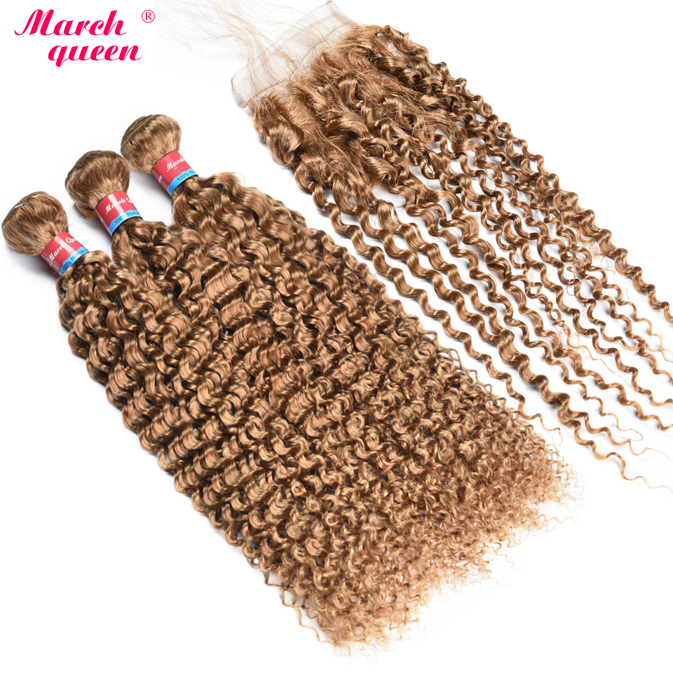 3/4 Bundles With Closure Hair Extensions & Wigs Indian Curly Bundles With Closure #27 Honey Blonde Color Human Hair Weave 3 Bundles With 4x4 Lace Closure Double Weft Hair