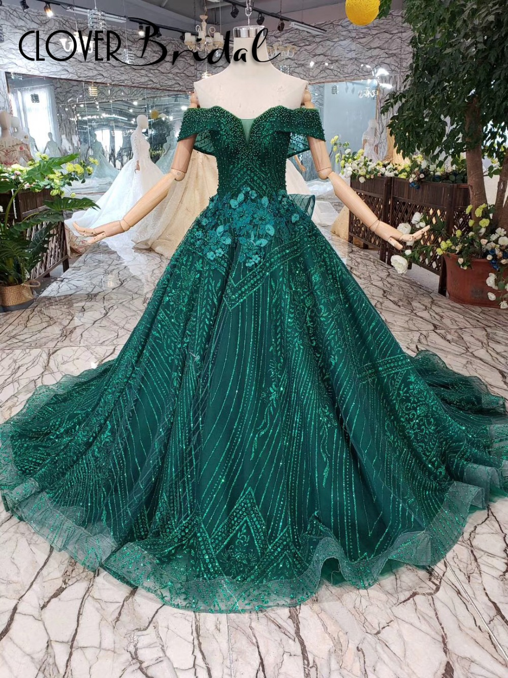 CloverBridal glitter lace pearls flowers emerald green   prom     dress   2019 50cm train vestidos de fiesta largos elegantes de gala