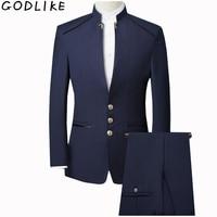 New 2019 Mens Chinese Tunic Collar Bridegroom Suit Formal Wear Dress Slim Fit Male Suits Groom Wedding Blazer+Vest+Pants