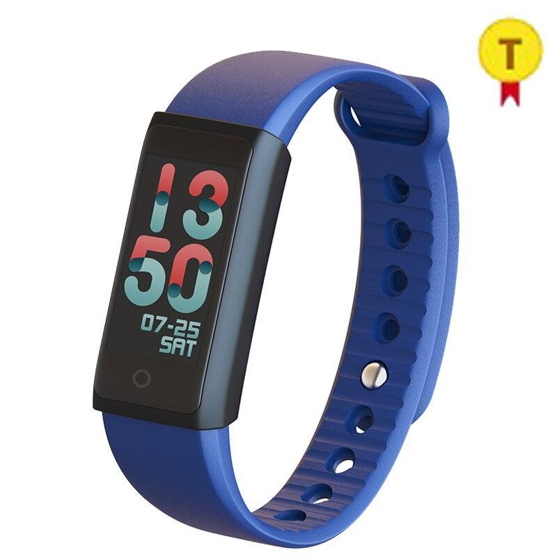Fréquence cardiaque Smart Fitness Tracker couleur affichage TFT-LCD écran montre Bluetooth 4.0 sans fil Bracelet rose bleu couleur pour dame