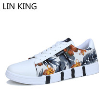 LIN KING Breathable Men Flats Shoes Floral Lace Up Low Top Canvas Shoes Shallow Anti Slip Man Sneakers Male Outdoor Casual Shoes недорого