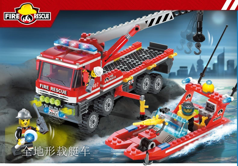 2019 Fashion Enlighten Building Block Fire Rescue All-terrain Fire Boats Carrier Truck 3 Fireman 420pcs Educational Brick Toy Boy Gift-no Box Diversified Latest Designs Stacking Blocks