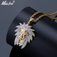 fa128ae572bd MISSFOX Hip Hop Indian Chief Avatar Long Necklace Pendant 24K Gold Plated  Cubic Zirconia Luxury Brand