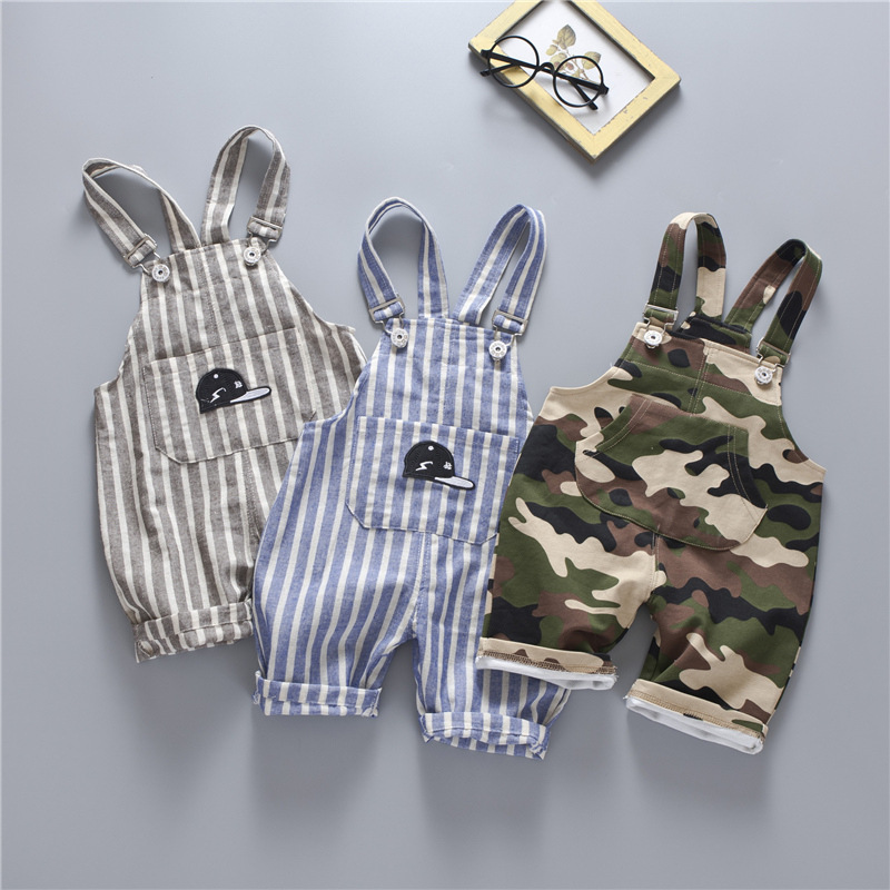 Casual Summer Baby Boys Girls Roupas Bebe Striped Camouflage Infants Kids Children Cotton Overalls   Shorts   Pantalones S5134