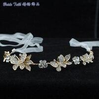 Mariposa Cadena de Cristales de diamantes de Imitación Diadema Cinta de Pelo de Las Mujeres Accesorios de La Joyería Nupcial de La Boda Celada GX009