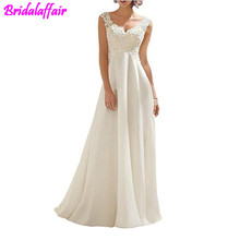 Womens Double V-Neck Sleeveless Lace Wedding Dress Briade beach wedding dress cheap dresses with free shipping