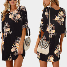 Women Lady New Summer Fashion Sleeve Print Tie Round Neck Dress Party Elegant  Vestidos  Sexy Dress  Casual  Print frilled tie neck mixed print dress