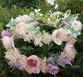 Moda Tiara Do Casamento Do Partido Dos Miúdos flor guirlandas Fita Ajustável coroa Coroa de Flores feitas À Mão Praia Mulheres dom acessórios para o Cabelo