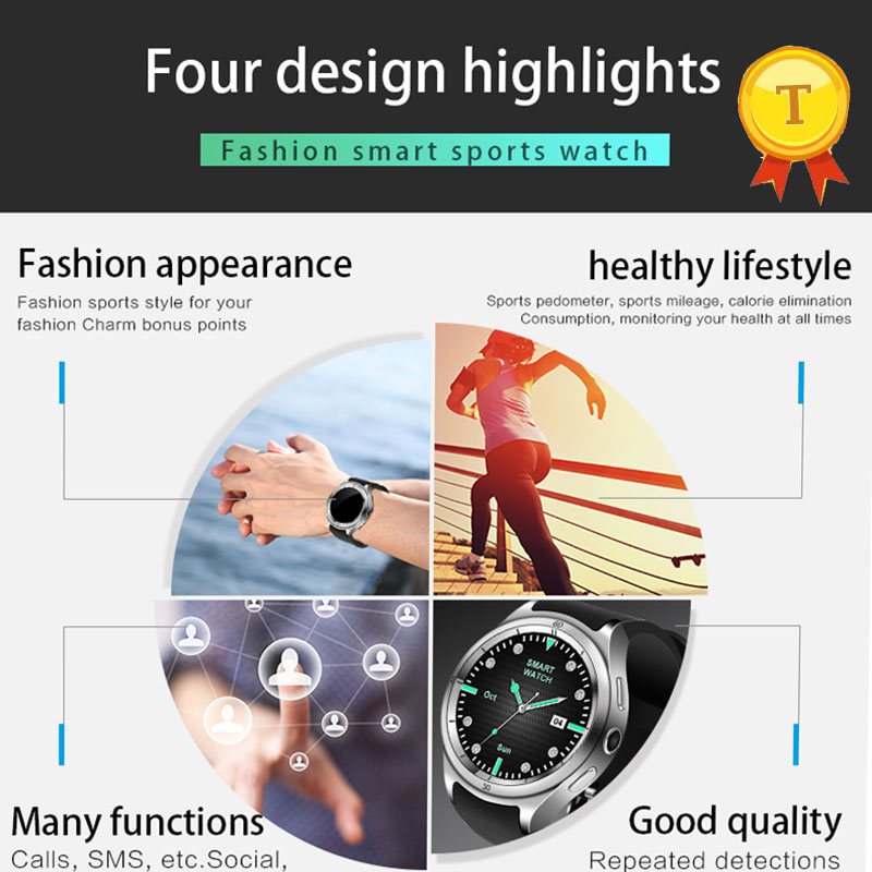 Best Quality New Product Ips Full Angle Touch Screen Round Shape Smart Watch With Wifi 3g 16gb Memory Heart Rate Monitor For Men