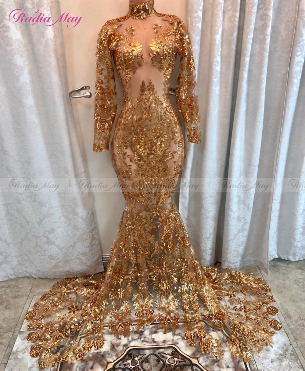 Sparkly Gold Sequins Mermaid Long Sleeves Prom Dresses Black Girls Sheer High Neck Court Train African Formal Evening Dress 2020