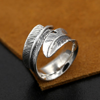 Pure Solid 925 Sterling Silver Jewelry Handmade Vintage Feather Ring Opening Japan Personality Fashion 2016 Men