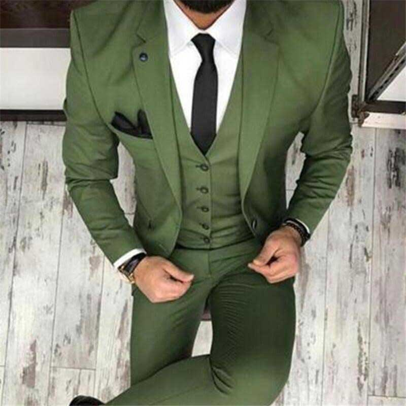 Fashion Men' S Oilve Green Blue 3-Piece Slim Fit Notch Blazer Classic Tuxedo Groomsmen For Party(Blazer+vest+Pants) New 2019