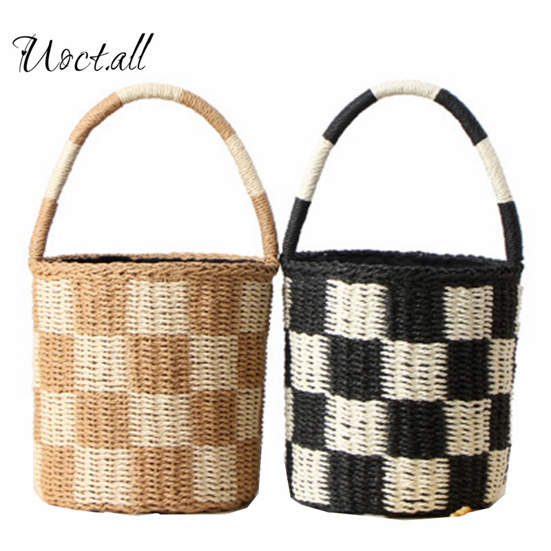 Uoct.all 2018 New Cylinder Hand Carry Straw Bag Paper Rope Hand-woven Bucket Bag Square Color Resort Beach Bag