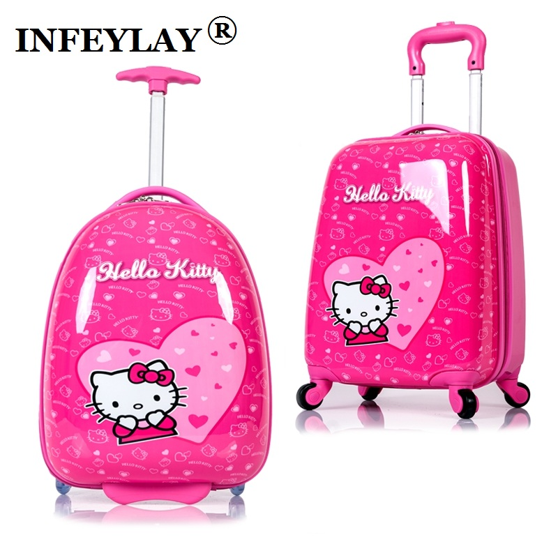 HOT anime girl luggage Kids rolling suitcase hello kitty cartoon 16/18 inch students Travel trolley case children Boarding box 18 20 inch pc abs girl cartoon pull rod box trolley case 3d child travel luggage anime suitcase kids boarding box with wheel
