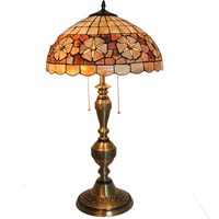 European Retro Tiffany Style Stained Glass Lampshades Copper Table Lamps Study Room Decorative Bedside Desk Reading Light TL203
