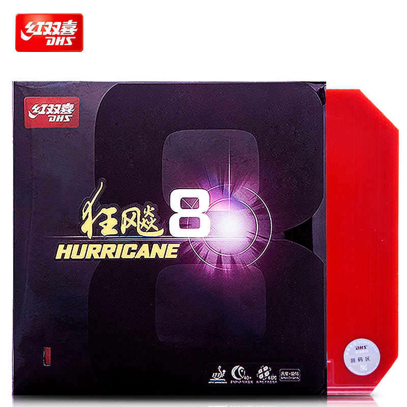 DHS Table Tennis Rubber Hurricane 8 H8 Original without packaging pimples in with sponge ping pong tenis de mesa