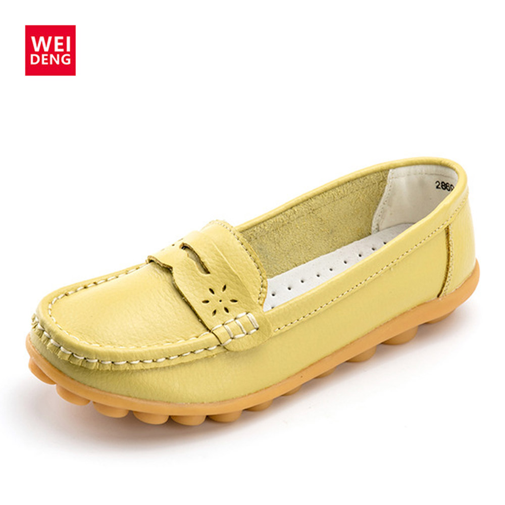 WeiDeng Women Genuine Leather Flats Gommino Moccasin Loafers Casual Slip On Cow Driving Fashion Ballet Boat Shoes handmade women loafers round toe genuine leather flats female soft moccasin gommino breathable boat shoes chaussure xk052506