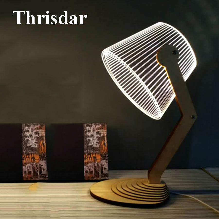 Thrisdar Creative 3D Illusion LED Night Light Wooden Base Atmosphere LED Desk Table Lamp Bedside Sleeping Light Holiday Gift mipow btl300 creative led light bluetooth aromatherapy flameless candle voice control lamp holiday party decoration gift