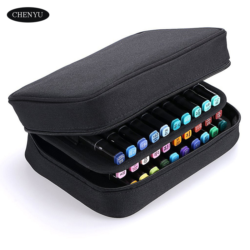 CHENYU 40 Slots Large Capacity Handy Marker Case Cavas Zippered Art Marker Lipstick Organizer For Student Art Office Supplies