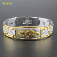 Hapiship 1Pcs New Mens Golden Chinese Power Dragon Magnetic Energy Stainless Steel Bracelet 4330 Wholesale Drop