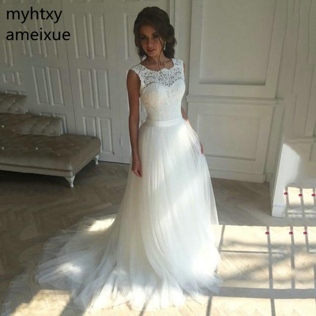 a419e54e9920 2019 New Lace O-Neck Lace Tulle Boho cheap Wedding Dresses Summer Beach  Bridal Gown Bohemian Wedding Gowns robe de mariage