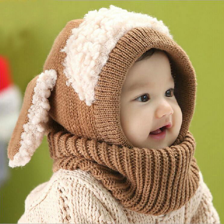 New Baby Boys Dog Siamese Cap Kids Winter Warm Knit Hat Crochet Hats For Girls Children's Bonnet 2017 Newborn Christmas Caps knit winter hats for men women bonnet beanies skullies caps winter hat cap balaclava beanie bird embroidery gorros