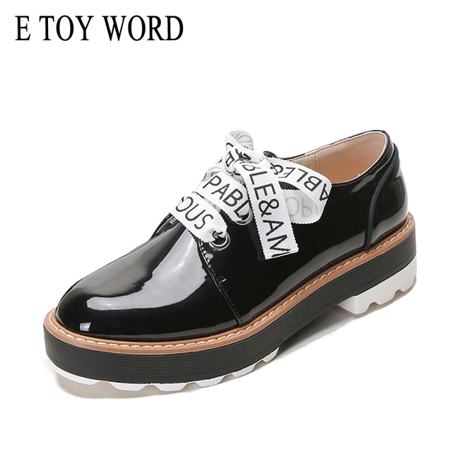 E TOY WORD 2019 New Shoes Woman Derby shoes Patent Leather flat platform shoes woman Lace-Up Letter Print Brogues zapatos mujer