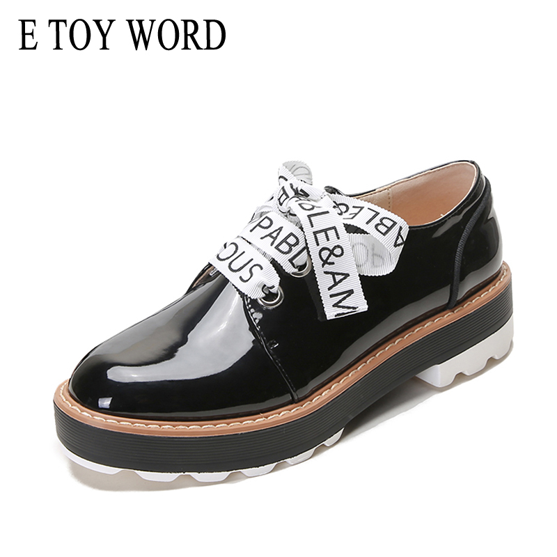 E TOY WORD New Platform Shoes Woman Derby shoes Patent Leather Flats Printing Bow Lace Up Fashion Increased Shoes For Women beffery 2018 british style patent leather flat shoes fashion thick bottom platform shoes for women lace up casual shoes a18a309