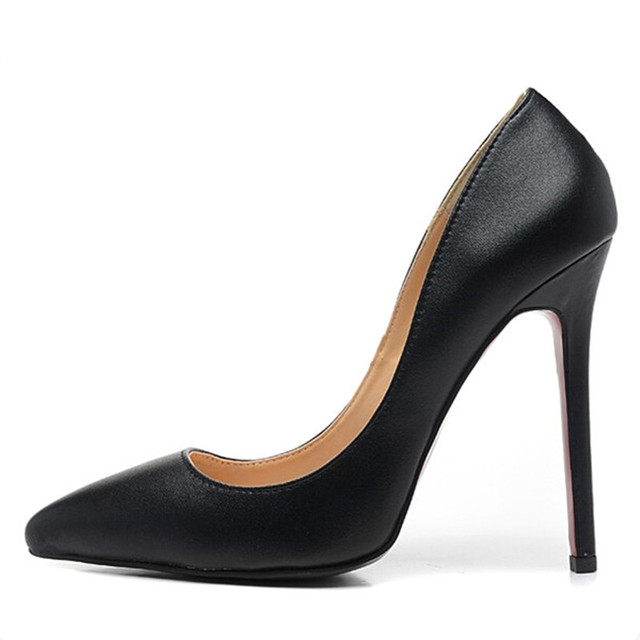 Mulheres marca Bombas de Sapatos de Salto Alto Mulher Bombas Stilettos Sapatos para As Mulheres sapatos de Salto Alto Preto 12 CM Sapatos de Casamento de Couro PU B-0051