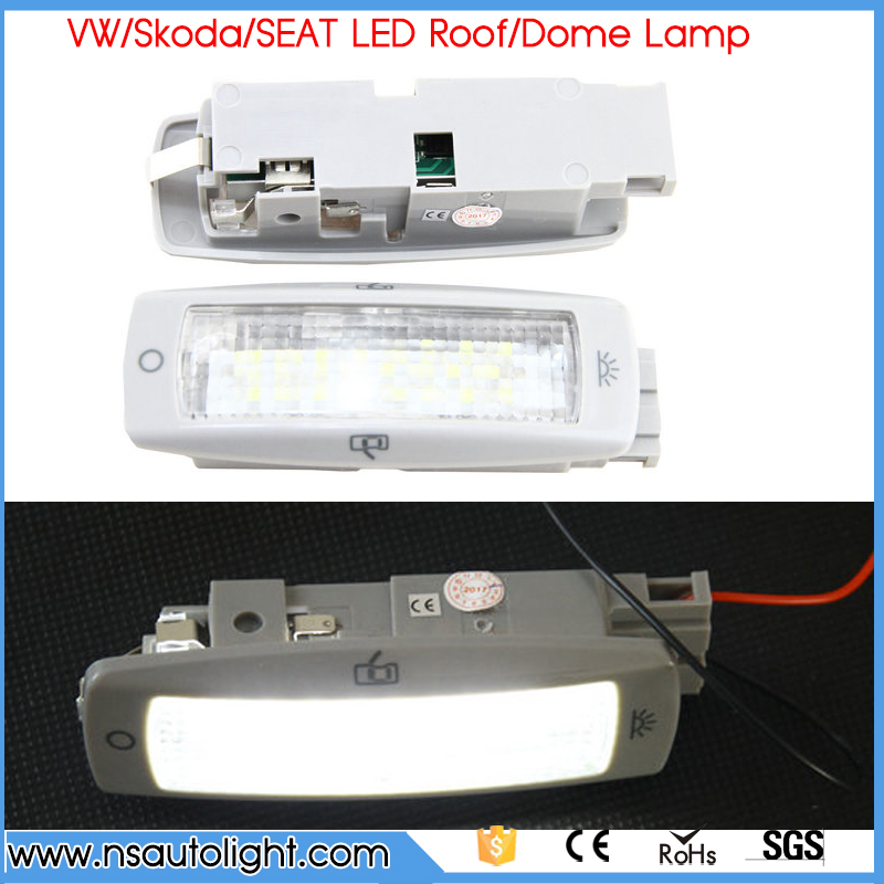 A Pair LED 3528 SMD LED Roof/Dome Lamp Bulbs 6000K Cool White For Skoda Fabia Superb Yeti Alhambra Leon Toledo new dacom carkit mini bluetooth headset wireless earphone mic with usb car charger for iphone airpods android huawei smartphone