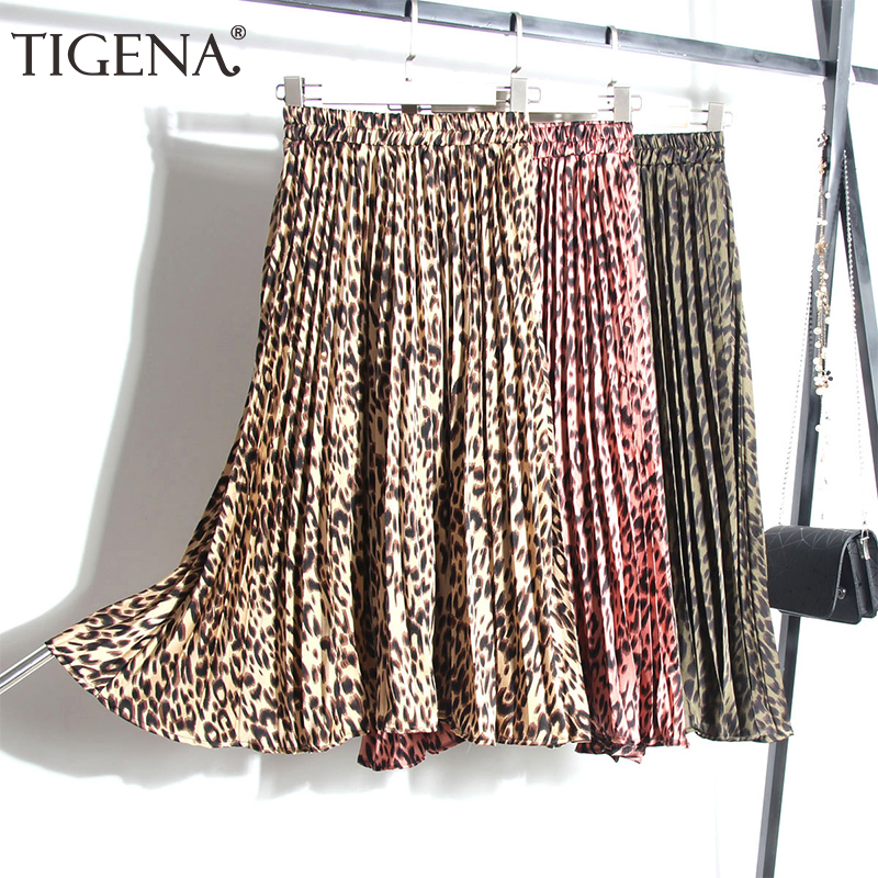 TIGENA Fashion Leopard Skirts Women With Lined 2019 Autumn Winter High Waist Pleated Midi Long Skirts Female Korean Skirt Ladies
