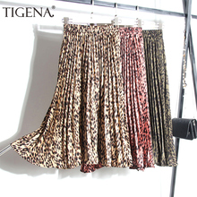 TIGENA Fashion Leopard Skirts Women with Lined 2019 Autumn W