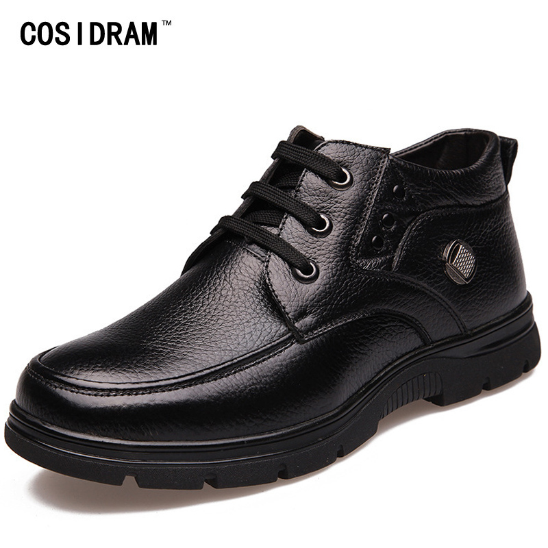 COSIDRAM Winter Men Boots With Fur Genuine Leather...