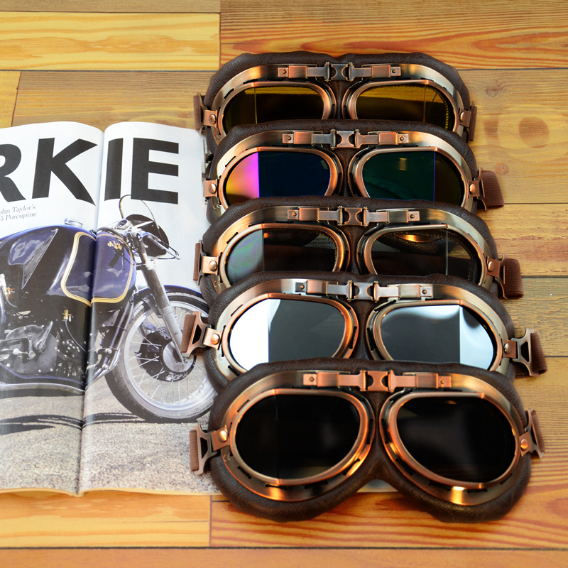 Motorcycle Glasses Helmet Goggles Pilot Aviator Retro Vintage PU Leather Riding Eye Wear Copper for Cruiser Cafe Racer