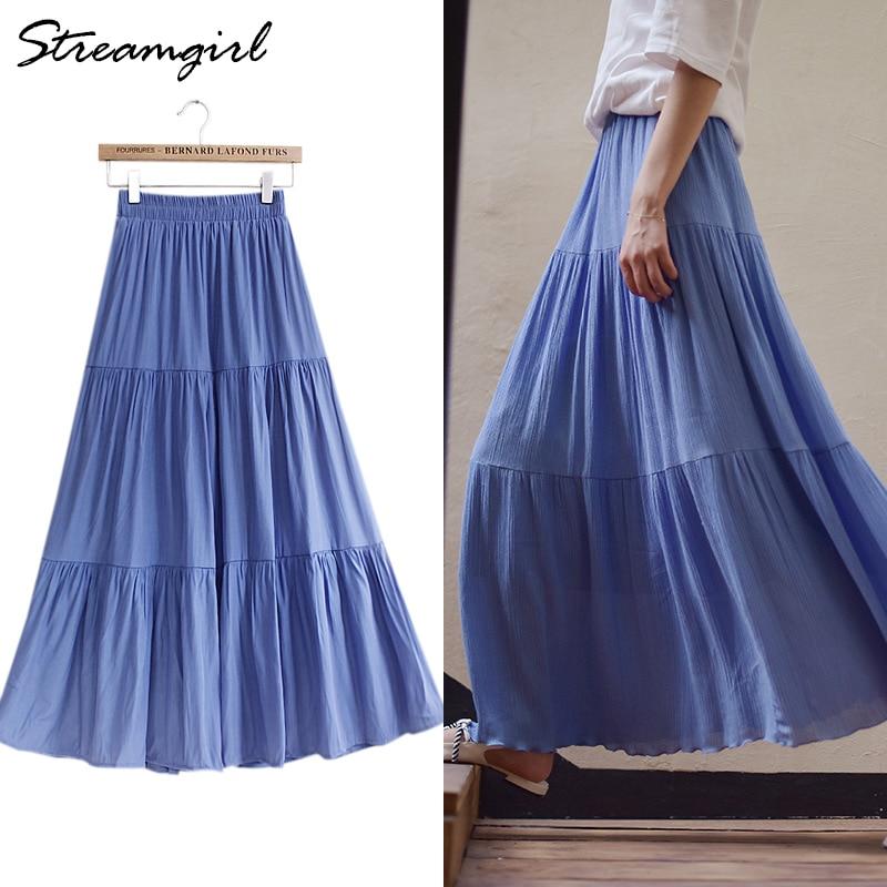 Blue Long Skirt Cotton Women Boho Womens Skirts Female Summer Maxi White Linen Skirt With Elastic Waist Women Long Linen Skirts