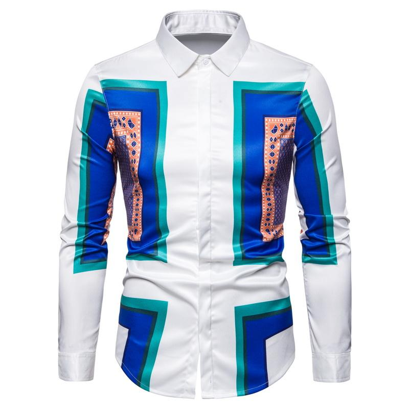 Loldeal Summer Slim Fit Blue Square Printing Shirt Male Hawaiian  Long Sleeve Shirt Fashion Men's Luxury  Shirt