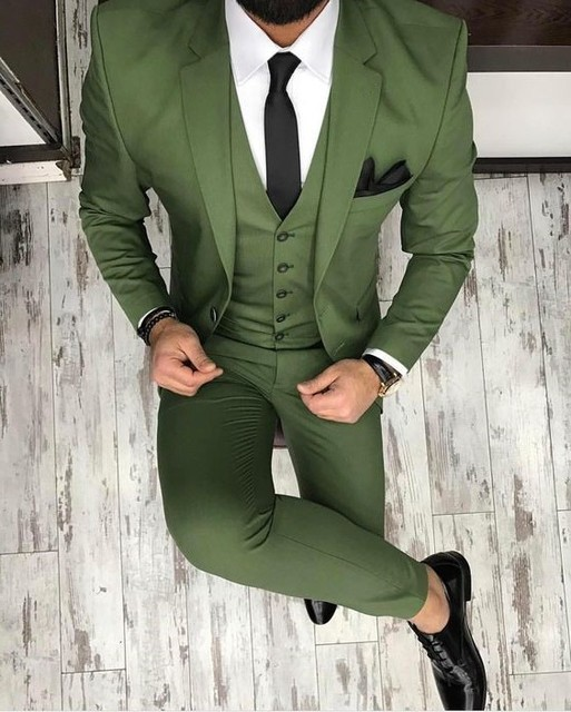 e45234629f7c5e Custom Made Groomsmen Olive Green Groom Tuxedos Peak Notch Lapel Men Suits  Wedding Best Man ( Jacket+Pants+Vest +Tie) C356. 3 orders