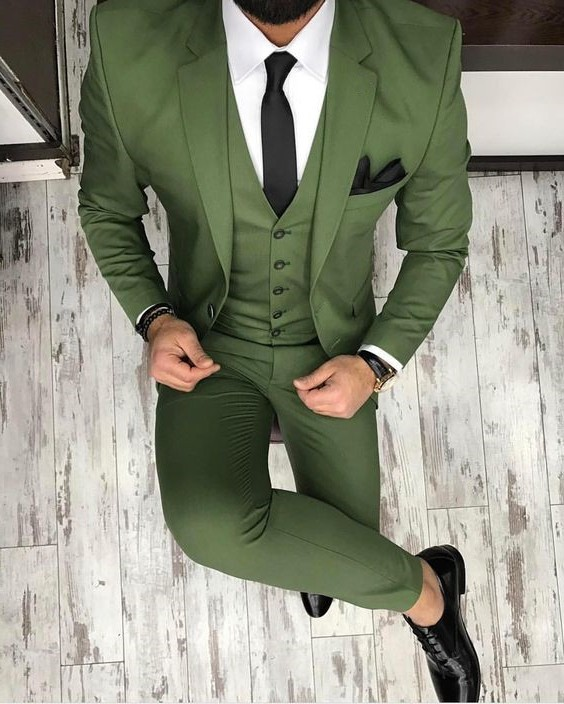 Custom Made Groomsmen Olive Green Groom Tuxedos Peak/Notch Lapel Men Suits Wedding Best Man ( Jacket+Pants+Vest +Tie) C356