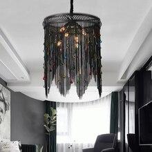 Nordic Postmodern Luxury Chandelier Aluminum Glass Decor Black Finished Hanging Lights Living Room Villa Stairs Tassel Lamp